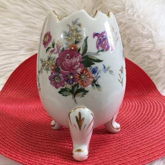 Vtg Ardalt Japan Gilded Porcelain Floral Egg Vase